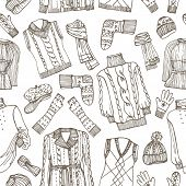 Sketchy Females knitted clothing seamless pattern
