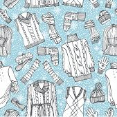 Sketchy Females knitted clothing ,snowflakes seamless pattern