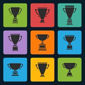 Vector black trophy cup icons set