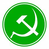 picture of hammer sickle  - Hammer and sickle sign button on white background - JPG