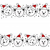 Polar bears in Santa Claus hats Christmas winter holidays seamless double horizontal border on white