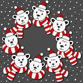 Polar bears wreath winter holidays card on dark