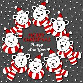 Polar bears wreath winter holidays card with Christmas and New Year greetings on dark