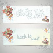Set with two horizontal banners with school books, apple and autumn leaves