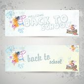 Set with two horizontal banners with school books and apple
