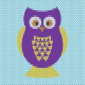 Knitted Cartoon Funny Purple And Yellow Owl Vector Background