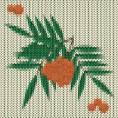 Knitted Cartoon Orange Rowan Vector Background