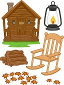 Illustration Featuring Different Elements Typically Associated with Log Cabins