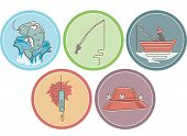 Icon Illustration Featuring Different Items Typically Associated with Fishing