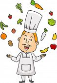 Illustration Featuring a Chef Juggling Different Fruits and Vegetables