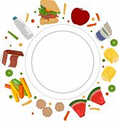Illustration Featuring an Empty Plate Surrounded by Different Types of Food
