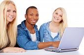 Group of students sitting in front of laptop computer. All on white background.