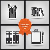 Black and white stationery icons set on gray gradient background