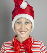 little girl in red santa hat