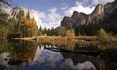 El Capitan Bridal Viel Falls Merced River Yosemite National Park