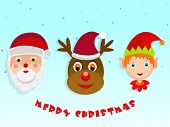 Kiddish faces of Santa Claus, monster and cute boy with stylish text for Merry Christmas celebrations.