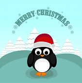Merry Christmas celebration poster with  X-mas tree and cute penguin in Santa's cap on stylish blue background.