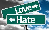 pic of hate  - Love x Hate creative sign with clouds as the background - JPG