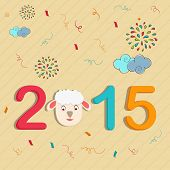 Kiddish poster with colorful text and sheep face for New Year 2015 celebrations.