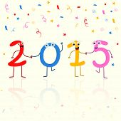 Happy New Year celebration with kiddish text 2015 on ribbons and stars decorated background.
