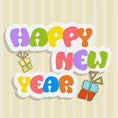 Stylish sticky with colorful text and gift boxes on vintage background for Happy New Year 2015 celebrations.