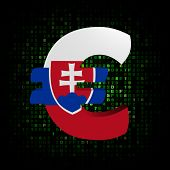 Euro symbol with Slovakian flag on hex code illustration