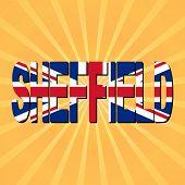 Sheffield flag text with sunburst illustration