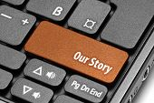 Our Story. Orange Hot Key On Computer Keyboard