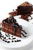 Yummy chocolate cake, close-up