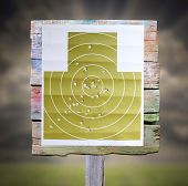 image of shooting-range  - Military shooting target with bullet holes - JPG