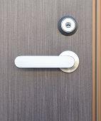 Gray wood door and sliver metal door handle