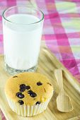 Close Up Cupcake And A Glass Of Milk On Wooden Plate