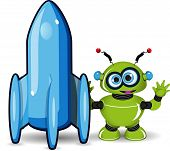 Green Robot And Rocket