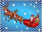 Santa claus with his sleigh in snow sky