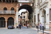 People On Piazza Della Signoria In Verona, Italy