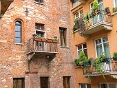 Windows And Balconies In The Museum Courtyard Juliet. Verona, Italy