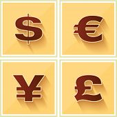 World Currency Symbols Flat Icon on Yellow Retro background