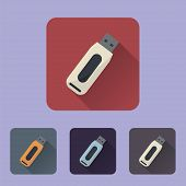 Flat Long Shadow Icon Flash Drive
