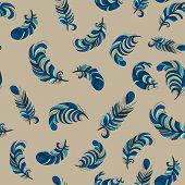 fluffy blue feathers seamless pattern