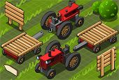 Isometric Red Farm Tractor In Two Positions