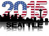 Seattle skyline 2015 flag text