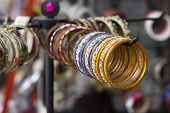 picture of bangles  - multicolor bangles arranged and displayed in the waiting customers. ** Note: Shallow depth of field - JPG