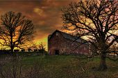 foto of yesteryear  - Old country dairy barn in Wisconsin in early spring at sunset or sunrise - JPG