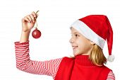 Beautiful Girl In Red Santa Hat With Christmas Ball