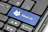 About Us. Blue Hot Key On Computer Keyboard.