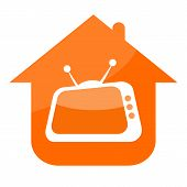 picture of tv sets  - Home television icon with retro TV set and house isolated on white background - JPG