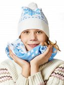 Beautiful Girl In Knit Sweaters, Scarves And Hats Isolated
