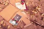picture of sad christmas  - Christmas card from ancient material with vintage style wooden pen - JPG