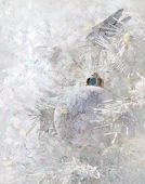 foto of superimpose  - christmas abstract decoration white with ball and confetti superimposed - JPG