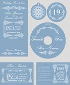 Winter wedding template set.Snowflakes swirling border